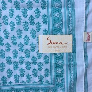 NWT Hand printed cotton floral beaded scarf India